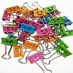 Dsmile ,2 x 40 Clips per Tub (8487) ,Smiling Binder Clips ,19mm ,Assorted Colors