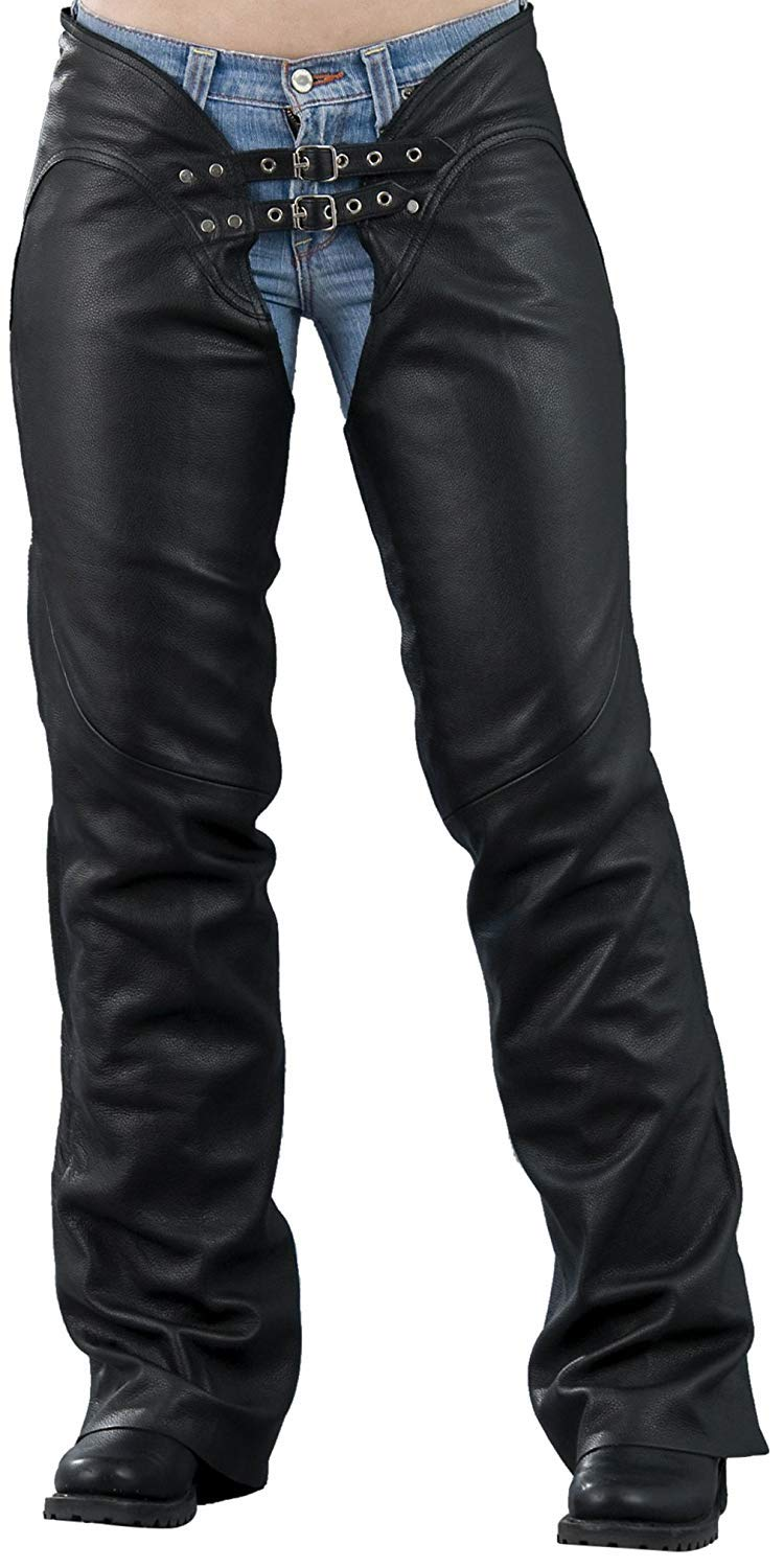Women's Double-Belted Leather Chaps. Hip Hugging Curvy Fit (X-Large)
