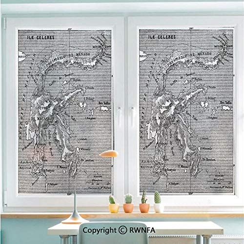 RWNFA Window Glass Sticker Door Mural Vintage Style French Map Chart of Sulawesi Island Mediterranean Destination Static Cling Privacy No Glue Film Home Decorative 22.8x35.4inch,Black and White