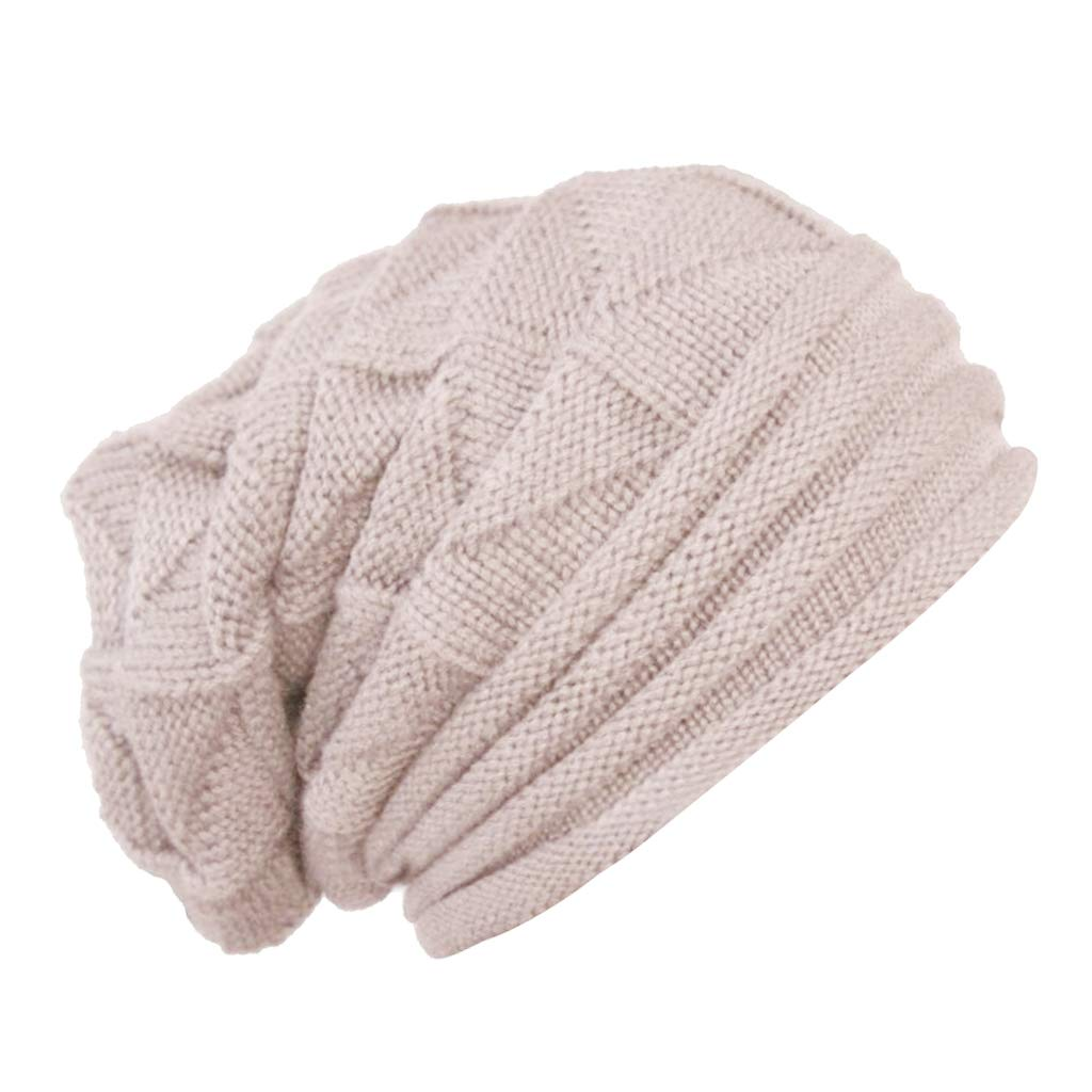 2d3494e6f03 SM SunniMix Men Women Ladies Knitted Winter Oversized Slouch Beanie Hat Cap  Skateboard - Beige