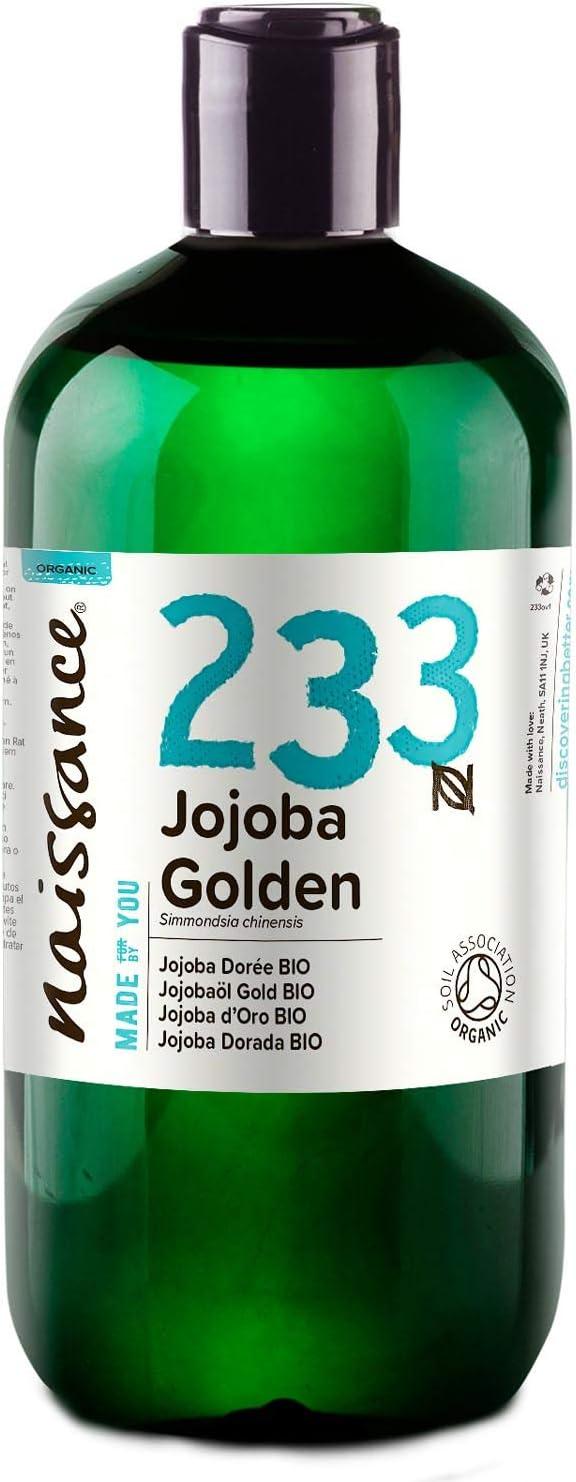 Naissance Aceite Vegetal de Jojoba Dorada BIO n. º 233-500ml - Puro, natural, certificado ecológico, prensado en frío, vegano, sin hexano y no OGM - Humecta y equilibra la piel.