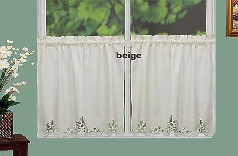 Amazon Com Creative Linens Battenburg Lace Kitchen Curtain 36 L Tiers Ecru Beige Dining