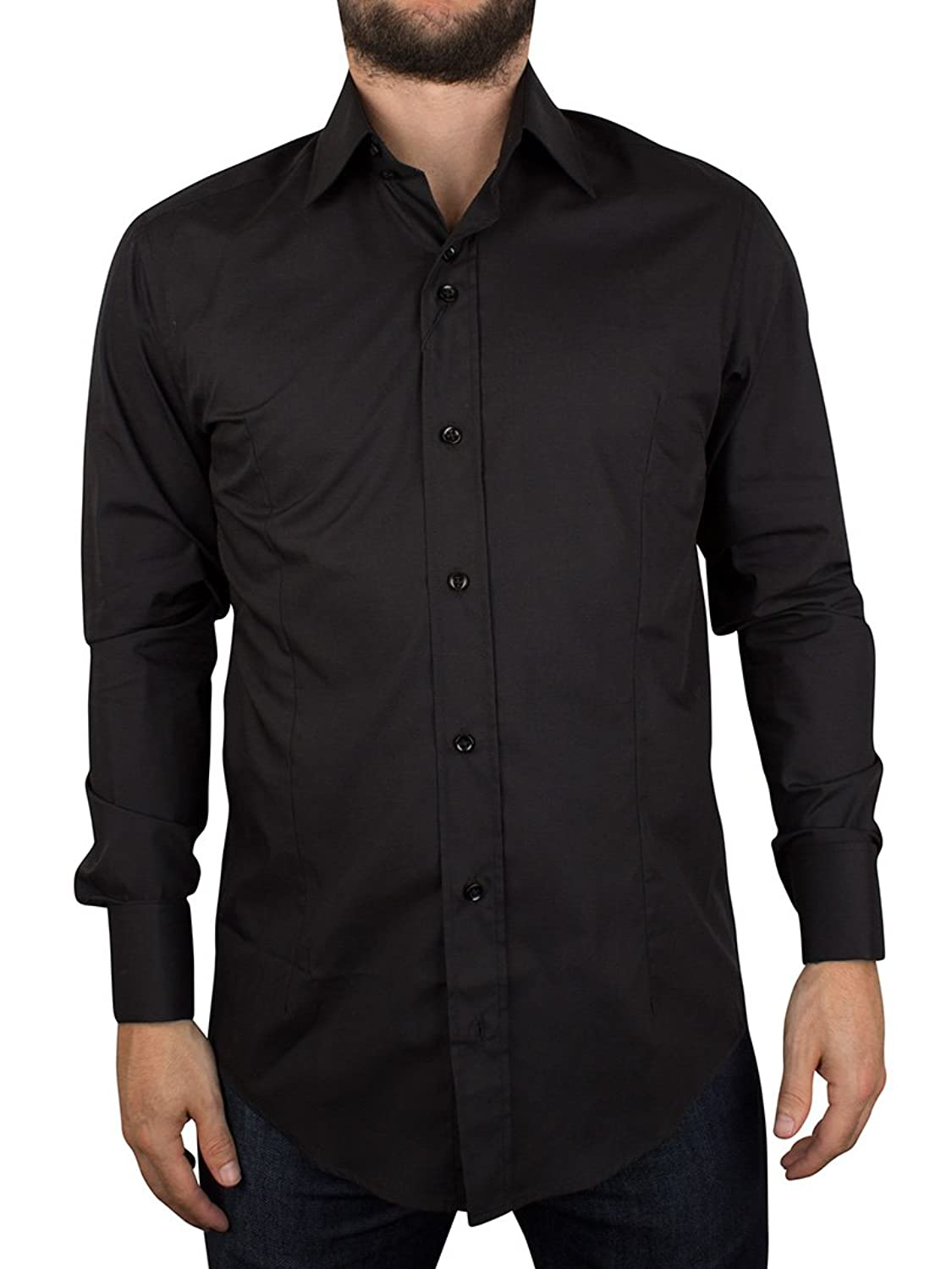 Mens Guide London Black Smart Double Cuff Shirt Free Cuff-Links LS73159 S - 4XL