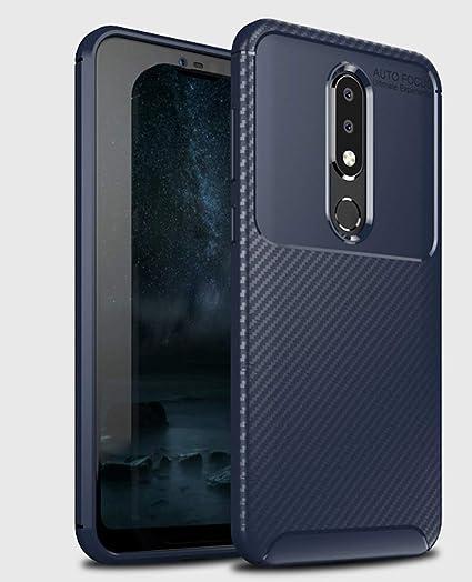 finest selection 223fc cfbb9 Bounceback ® Nokia 6.1 Plus Back Case Cover Carbon Fiber Slim TPU Soft  Shock Proof Stand Back Cover for Nokia 6.1 Plus - Dazzle Blue