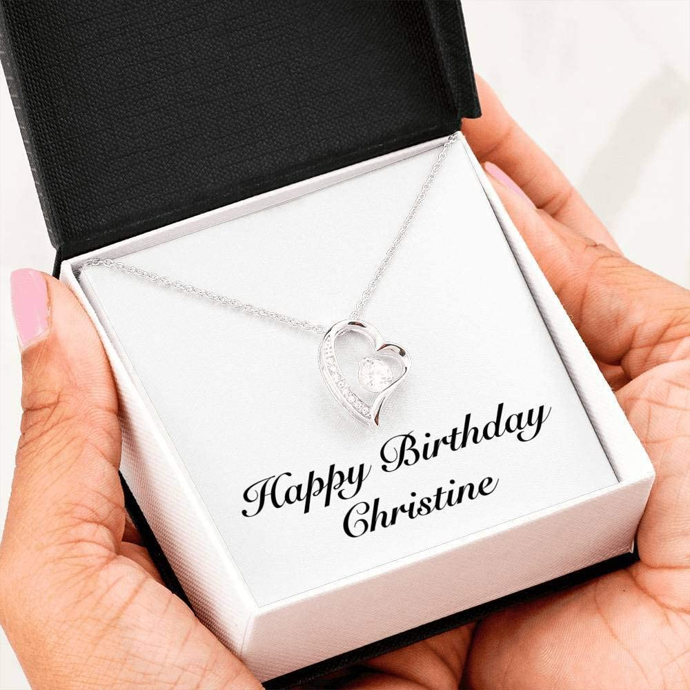 Forever Love Heart Necklace 14k White Gold Finish Personalized Name Gifts Happy Birthday Margarita