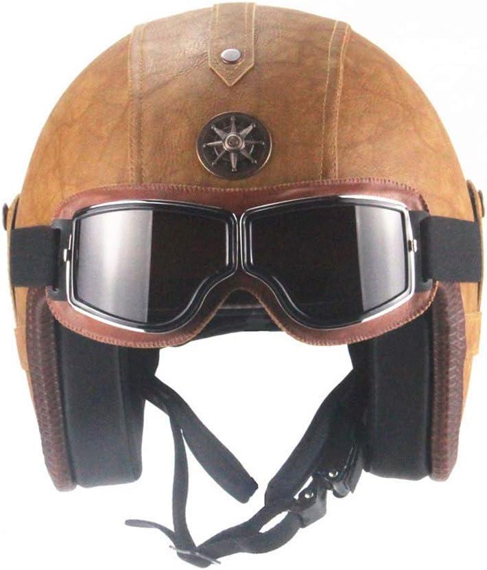 Casques Jet pour Moto Scooter Casque Unisexe avec Lunettes de Protection Vintage LEENY R/étro Demi Casque Moto Cuir /à la Main Casque /à Visage Ouvert pour Hommes Femmes