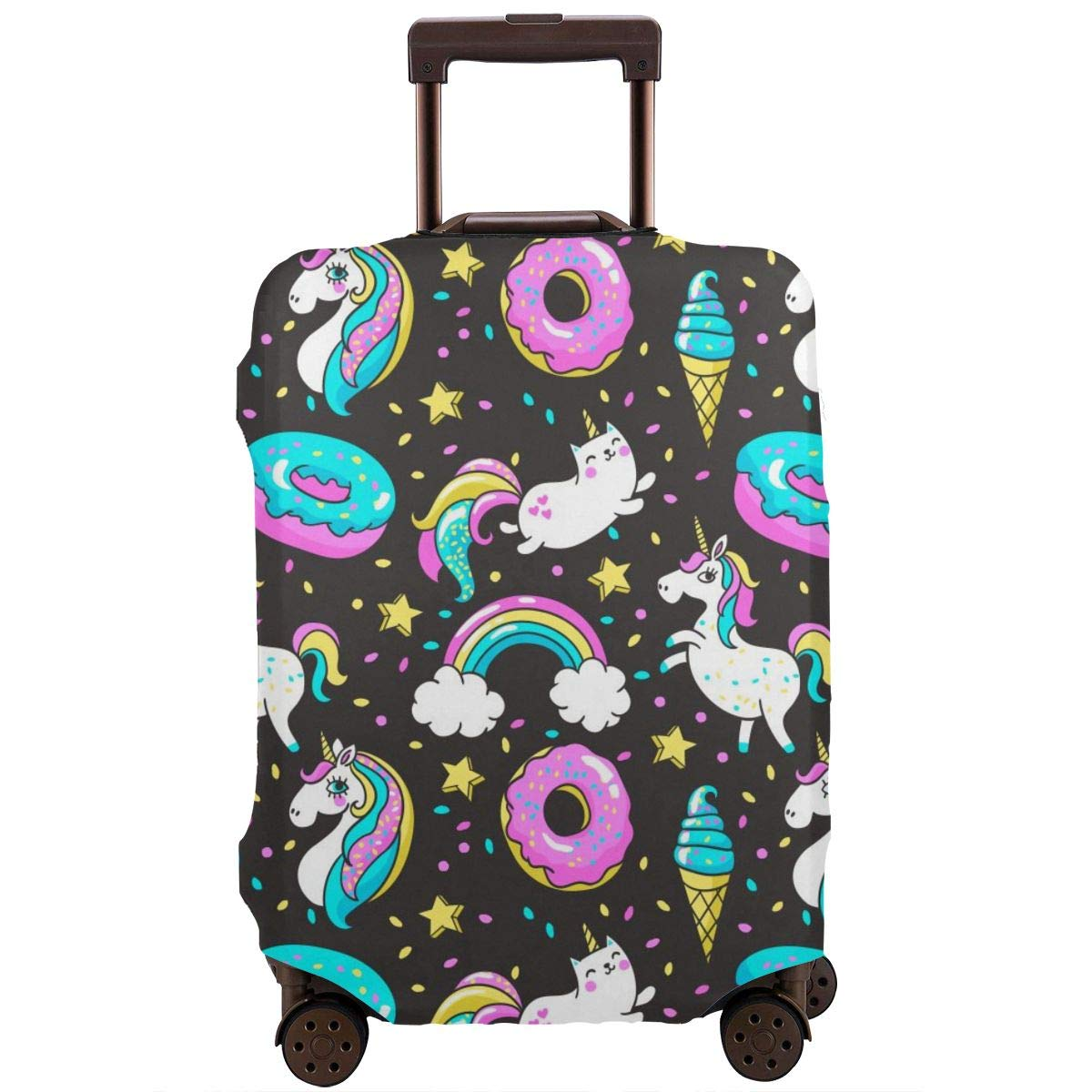 Donuts Rainbow Unicorns Cat Travel Luggage Cover Spandex Washable Suitcase Protector Baggage Covers Fits 18 To 32 Inch