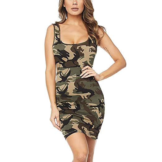 d056011524f6 BNisBM Women Summer Sexy Printing Camouflage Bodycon Sleeveless Pencil Knee  Length Club Tank Mini Dress (