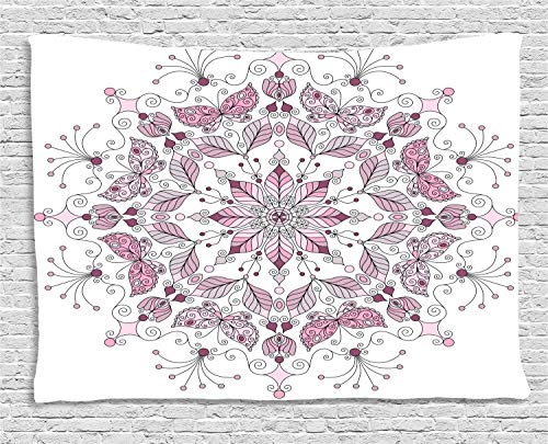 Ambesonne Purple Mandala Tapestry, Lacy Pastel Floral with Butterfly and Lotus Figures Meditation Design, Wall Hanging for Bedroom Living Room Dorm, 60 W X 40 L Inches, Pink -