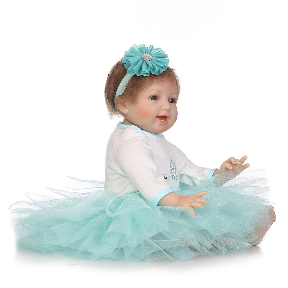 chinatera Little Girls Toy NPK Lovely Realistic Simulation Reborn Doll Soft Silicone Lifelike Artificial Kids Cloth Dolls by chinatera (Image #3)