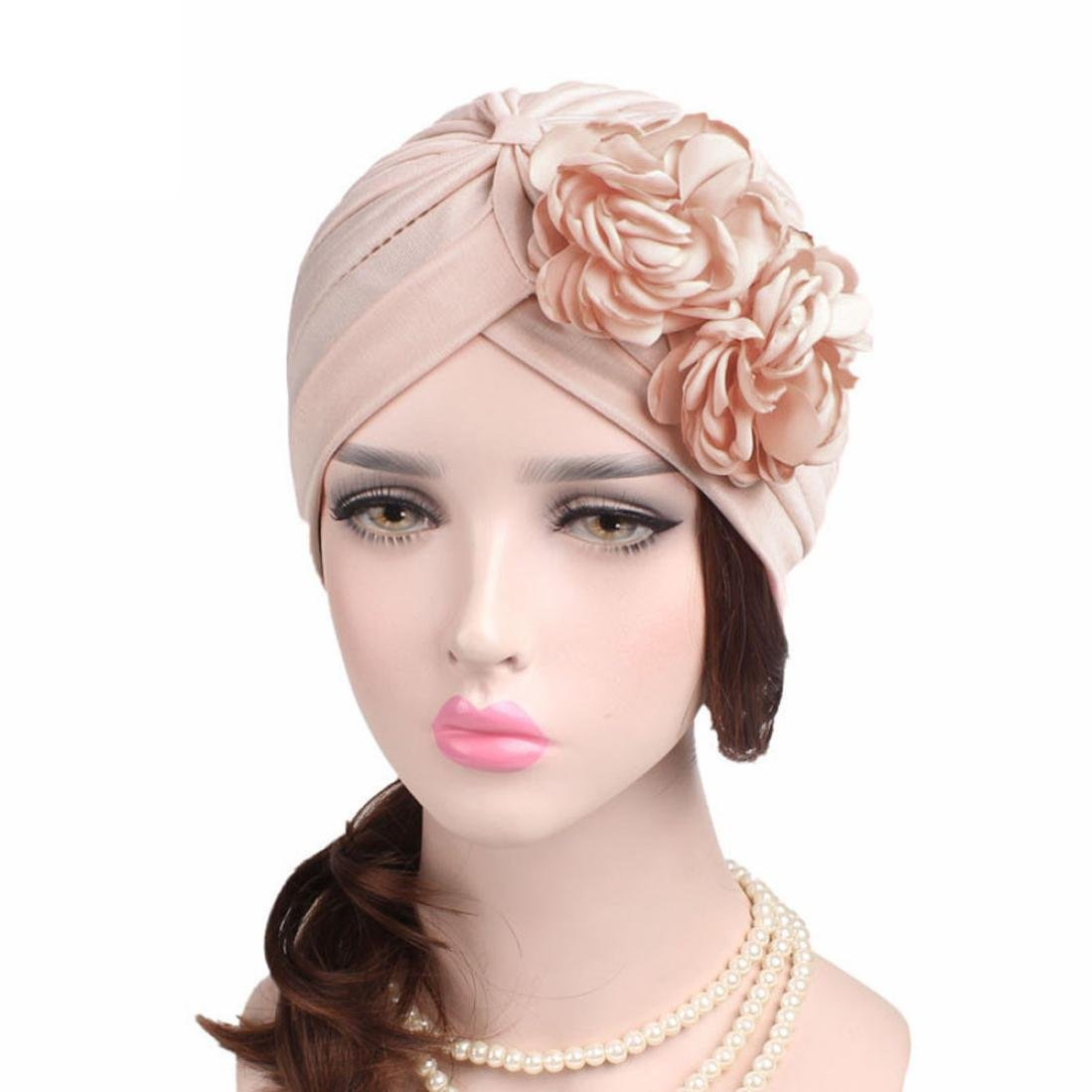 QingFan Women Muslim Solid Flowers Cancer Chemo Hat Turban Headbands Hair Loss Wrap Cap (Beige)