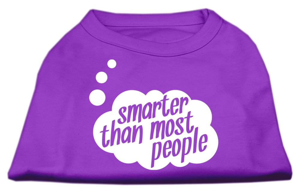 Dog   Cat   Pet Charms Smarter then Most People Screen Printed Dog Shirt Purple Med (12)