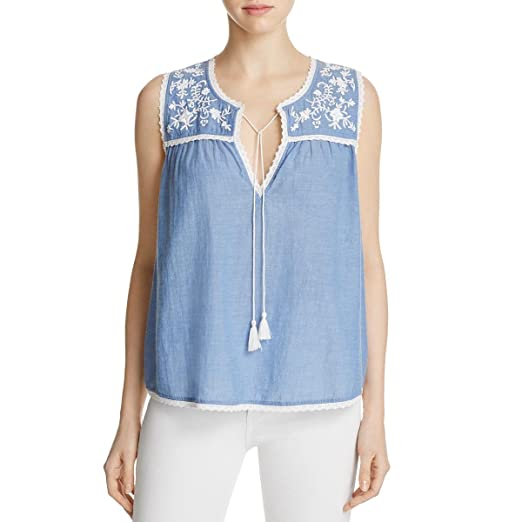 b2fa006a0d Amazon.com  Beach Lunch Lounge Womens Francesca Chambray Embroidered ...