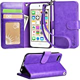 Ipod touch 6 Case, Arae apple ipod touch 6 wallet case,[Wrist Strap] Flip Folio [Kickstand Feature] PU leather wallet case with ID&Credit Card Pockets For Apple ipod touch 6 2015 (Purple)