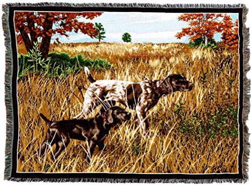 Pure Country Weavers - Now We Wait German Short Hair Dog Woven Tapestry Throw Blanket with Fringe Cotton USA Size 72 x 54