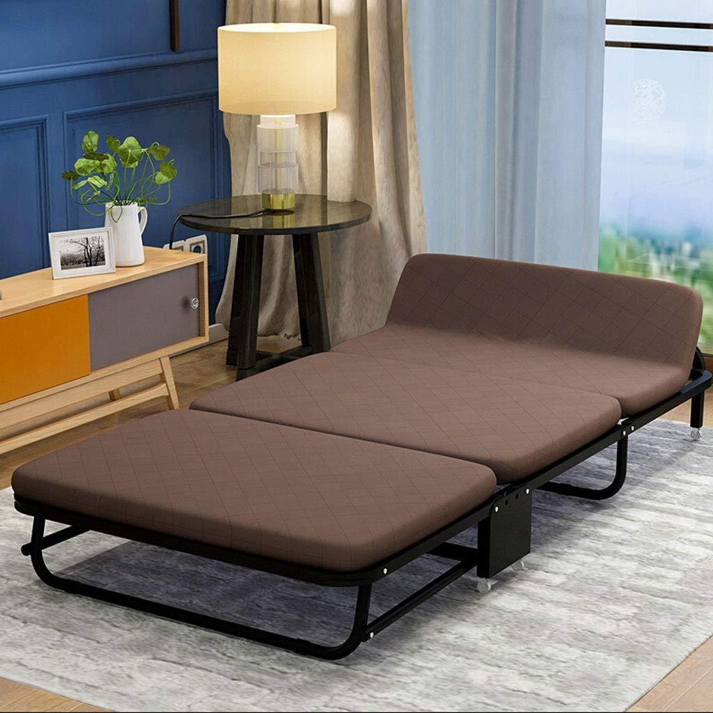 WXF Faltendes Einzelbett mit Rolle, Tragbares Einfaches Hauptschläfchen-Bett-Büro-Schwamm-Bett-dreifaches Sofabett (Color : Brown, Size : 65cm)