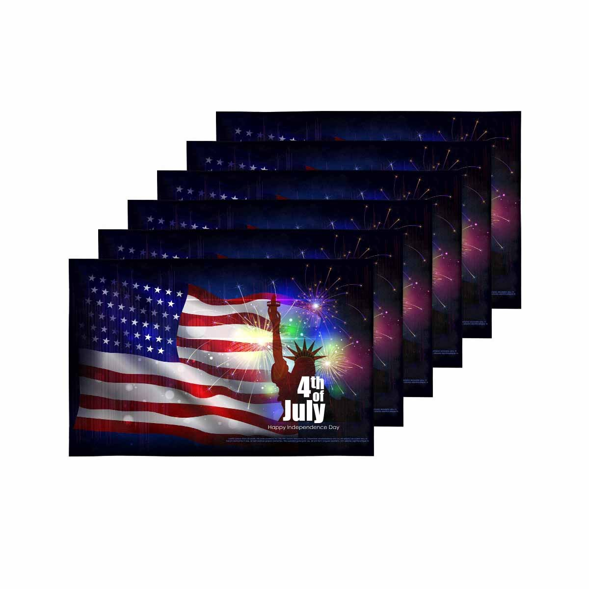 InterestPrint 4th of July Independence Day of America Kitchen Table Mats Placemats Set of 6, American USA Flag Statue of Liberty Place Mat for Dining Table Restaurant Home Decor 12''x18''