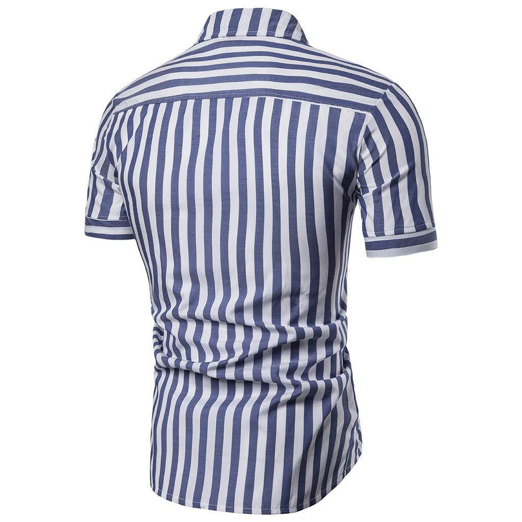 SFE Men Summer Shirts,Mens Striped Casual Slim Fit Shirts Short Sleeve Stand Collar Shirt Top Blouse Fashuion!