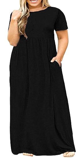 Delcoce Women Plus Dresses Black Empire Waisted Long Maxi Dresses