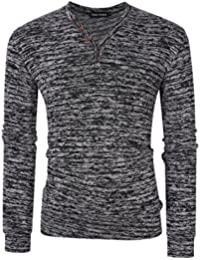 """<span class=""""a-offscreen"""">[Sponsored]</span>Men Classic Fit Knit Pullover Button V Neck Long Sleeve Henley T-Shirts"""