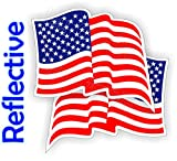 (Pair) REFLECTIVE American Flags Hard Hat Stickers | Motorcycle Welding Helmet Decals | Stealth Labels USA Flag America Freedom Patriotic AR15 Lower MAG Laborer Foreman Survival Tactical Old Glory USA