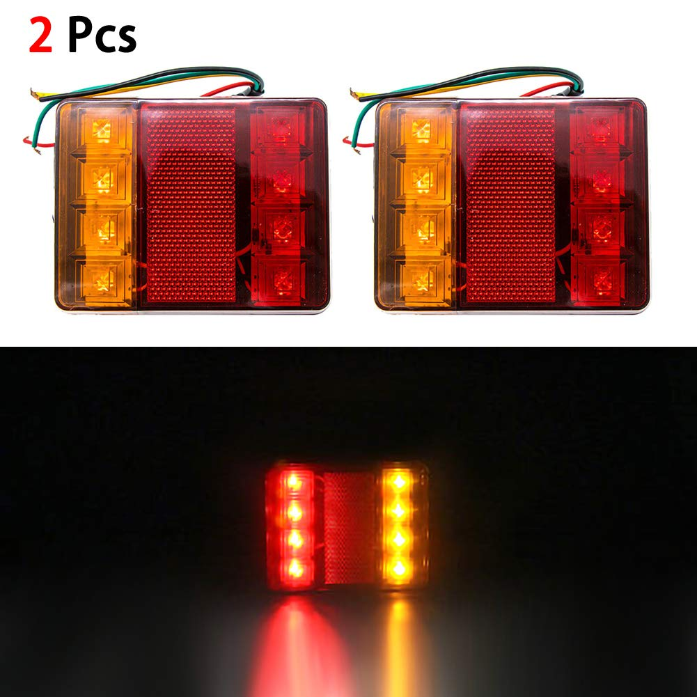 housesweet Led Trailer Lights Kit,Submersible Square Tail Light Breake Stop Indicator Light Turning Signal Light 2pcs