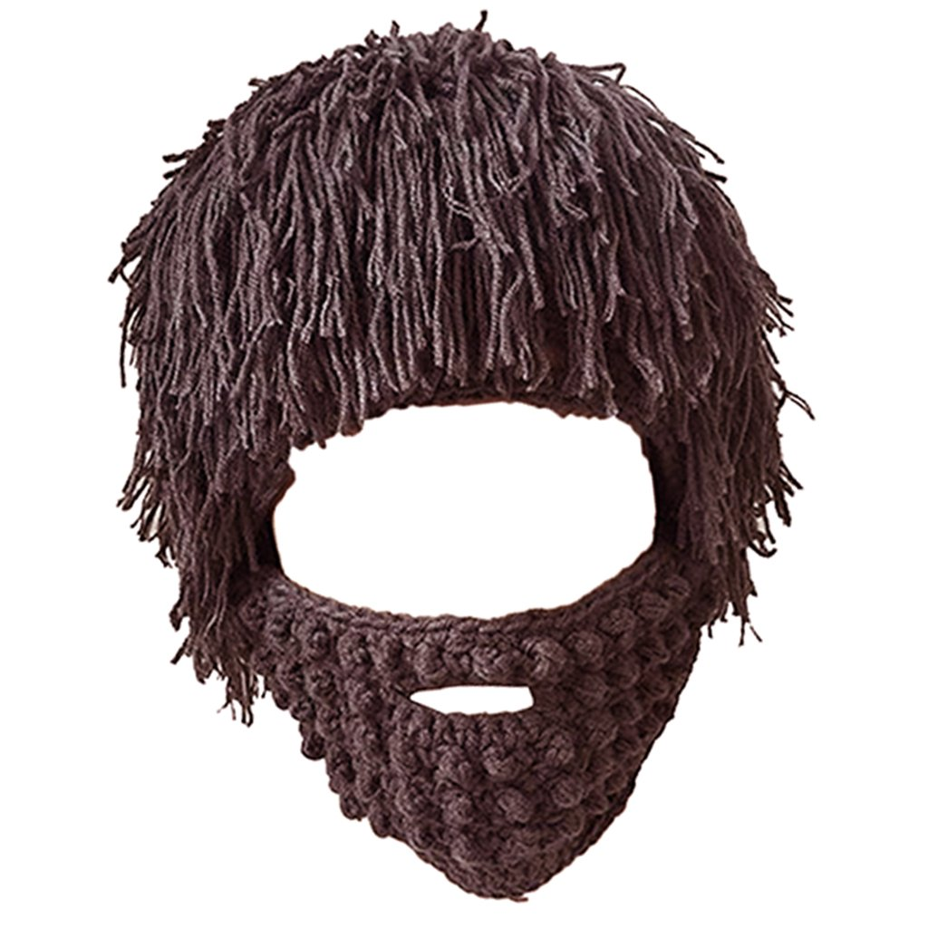 MagiDeal Unisex Knit Bearded Hat Handmade Wig Winter Warm Ski Mask Beanie
