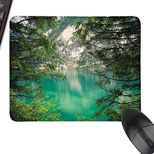Landscape Wrist Comfort Mouse Pad Mountain Lake Lago di Braies in Italy Mountain View with Fresh Pine Trees for Computers, Laptop, Office & Home 23.6
