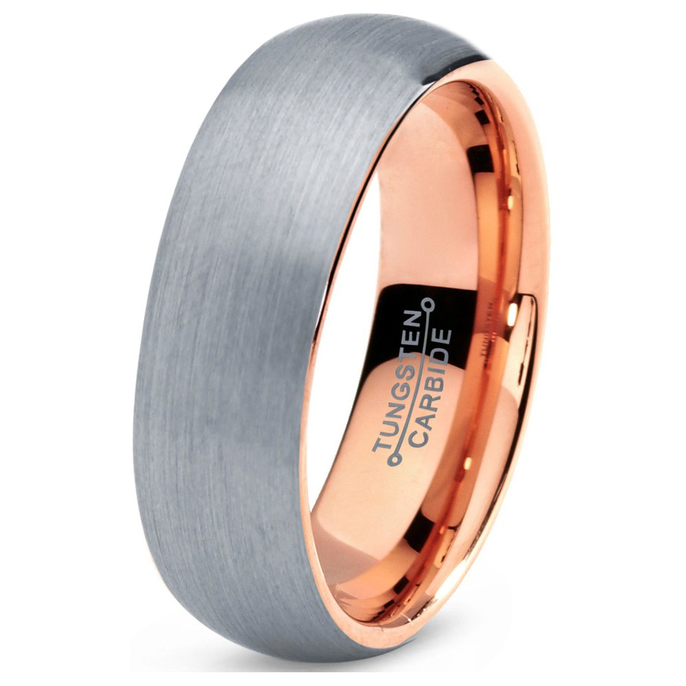 Tungsten Wedding Band Ring 7mm 5mm 2mm for Men Women Comfort Fit 18k Rose Gold Plated Dome Brushed Polished FREE Custom Laser Engraving Lifetime Guarantee