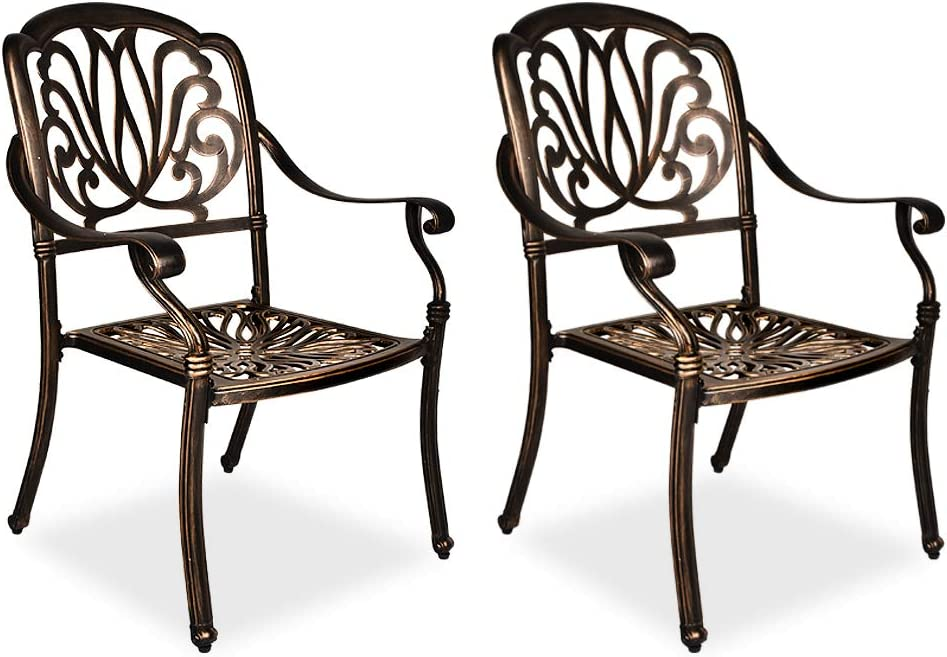 TITIMO 2 Piece Outdoor Bistro Dining Chair Set Cast Aluminum Dining Chairs for Patio Furniture Garden Deck Antique Bronze
