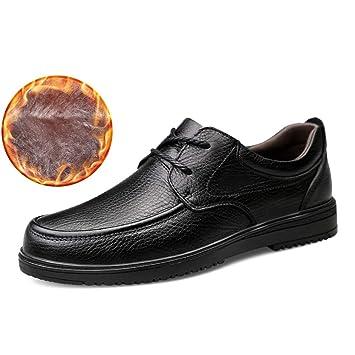 Ruiyue Moda Masculina Negocio Oxford Hombres Casual Cómodos Mocasines de conducción Low Top Warm Fleece Inside Zapatos de Ocio con Cordones (Convencional ...