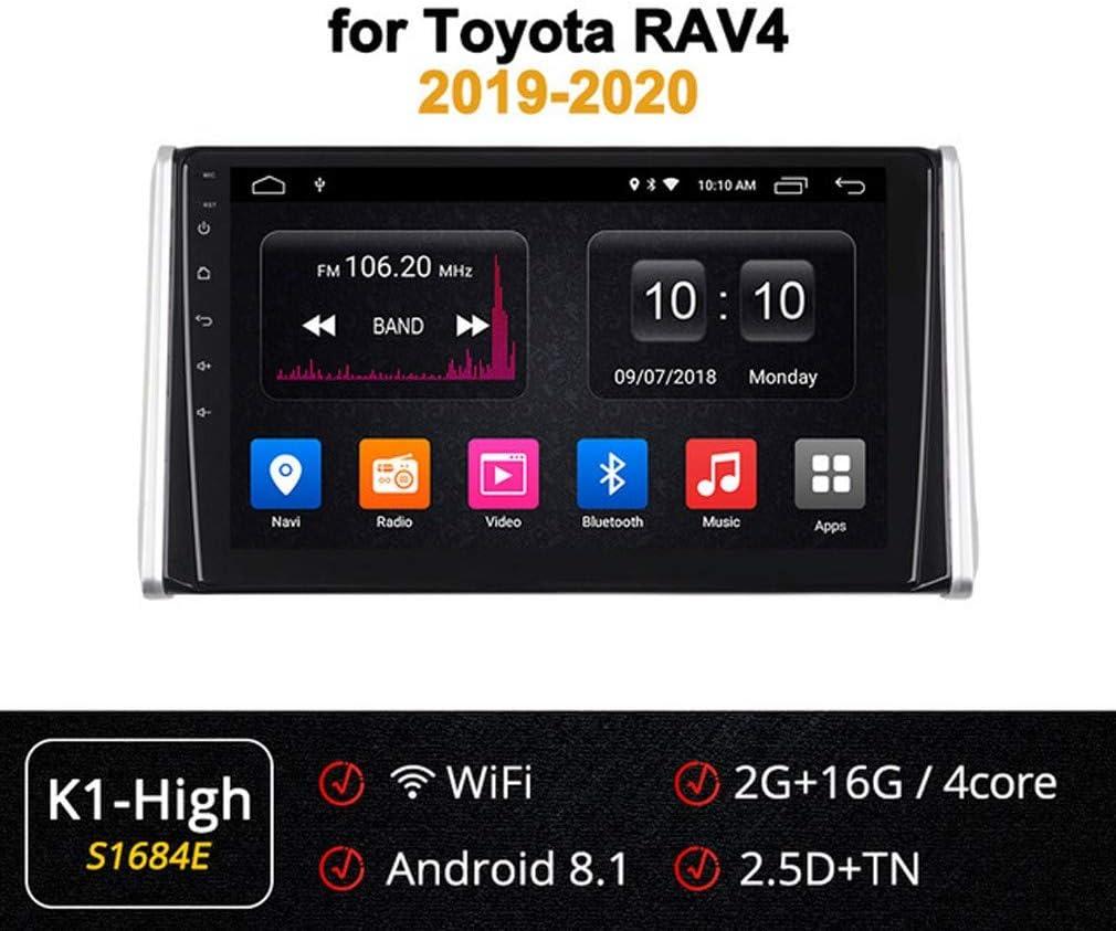 XBRMMM Car Stereo Android 9.0 GPS Navigation, para Toyota RAV4 2019-2020, 10.1 Pulgadas Pantalla Táctil Completa Reproductor Multimedia Radio, BT Mirror Link Control Volante Dab USB,2+32G