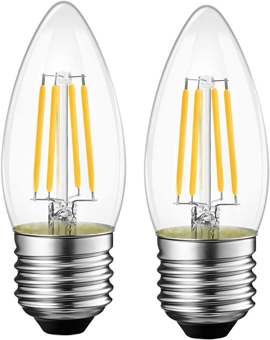 Citra Vintage Candelabra LED Light Bulbs with E27 Base Warm White 4W 2  Packs: Amazon.in: Home & Kitchen
