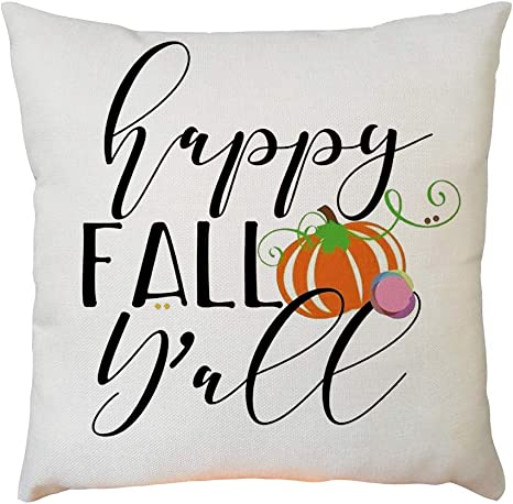 Amazon Com Square Cushion Cover Happy Fall Y All Pattern Lumbar Pillow Case Hotel Hospital Office Throw Cushioncover Pillow Accessories C 45x45cm Home Kitchen