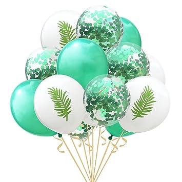 15 unids flamingo hoja de tortuga de piña globo de látex confeti globos para la decoración de la boda cumpleaños fiesta de Hawai decoración con 12 ...