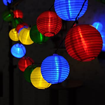 20 LED Solar Lantern String Lights Outdoor Multi Color Lampion Globe For  Garden,party