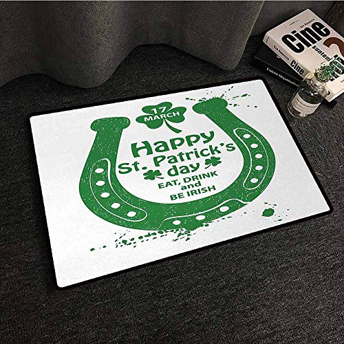 Non-Slip Door mat St. Patricks Day Eat Drink and be Irish March 17th Celebration with Horseshoe and Shamrock Art Breathability W35 xL59