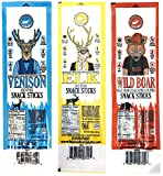 Pearson Ranch Assorted Game Meat Snack Sticks - Variety Pack of 3 - (Each 4oz contains 4 - 1oz sticks) - Elk, Venison, Wild Boar Game Jerky - Gluten-Free, MSG-Free, Keto and Paleo Friendly