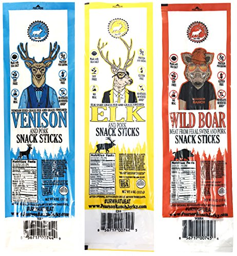 (Pearson Ranch Assorted Game Meat Snack Sticks - Variety Pack of 3 - (Each 4oz contains 4 - 1oz sticks) - Elk, Venison, Wild Boar Game Jerky - Gluten-Free, MSG-Free, Keto and Paleo Friendly )