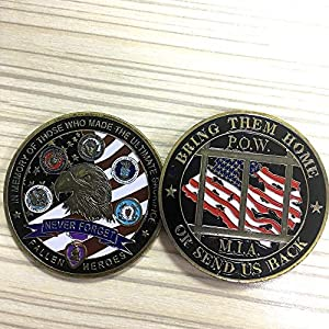 Proud Military Family Challenge Coin US Liberty Eagle POW MIA Army Coin Collectibles from LBL