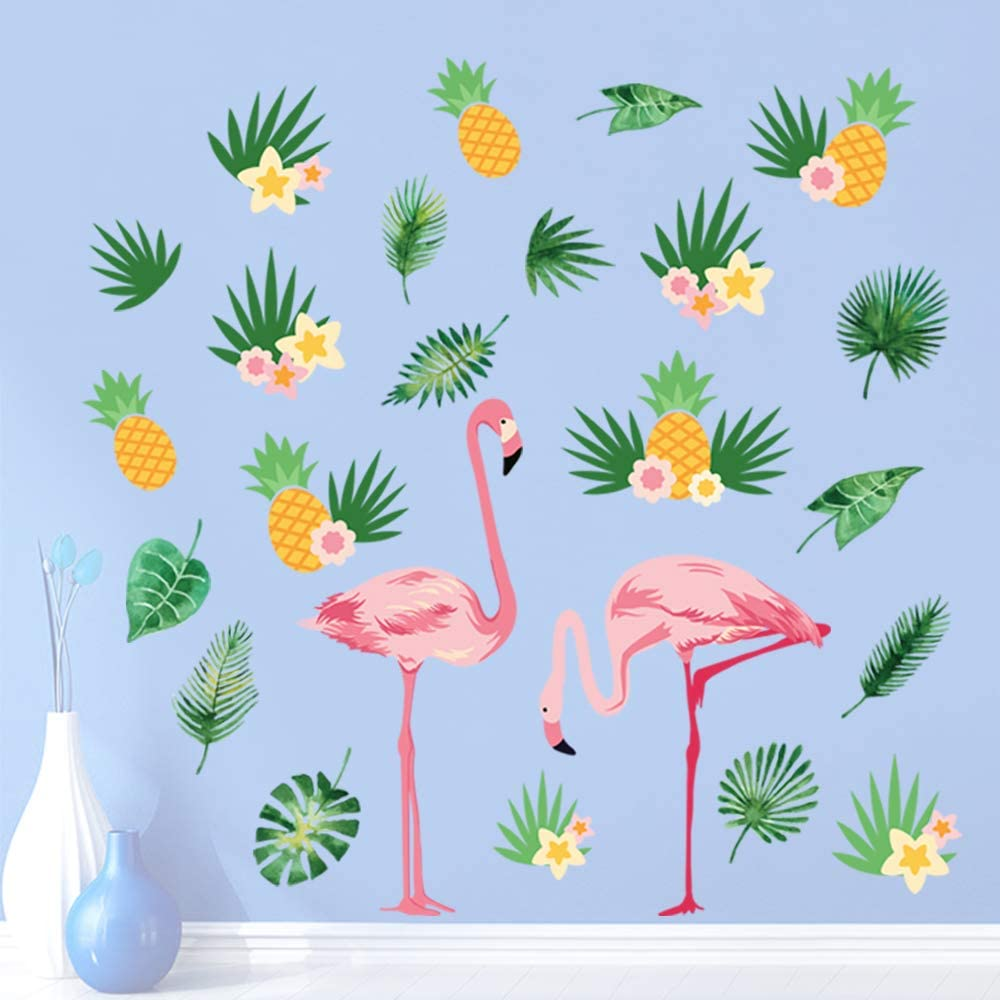 decalmile Pink Flamingo Wall Stickers Tropical Tree Leaves and Pineapple Wall Decals Bedroom Living Room Background Wall Art Decoration