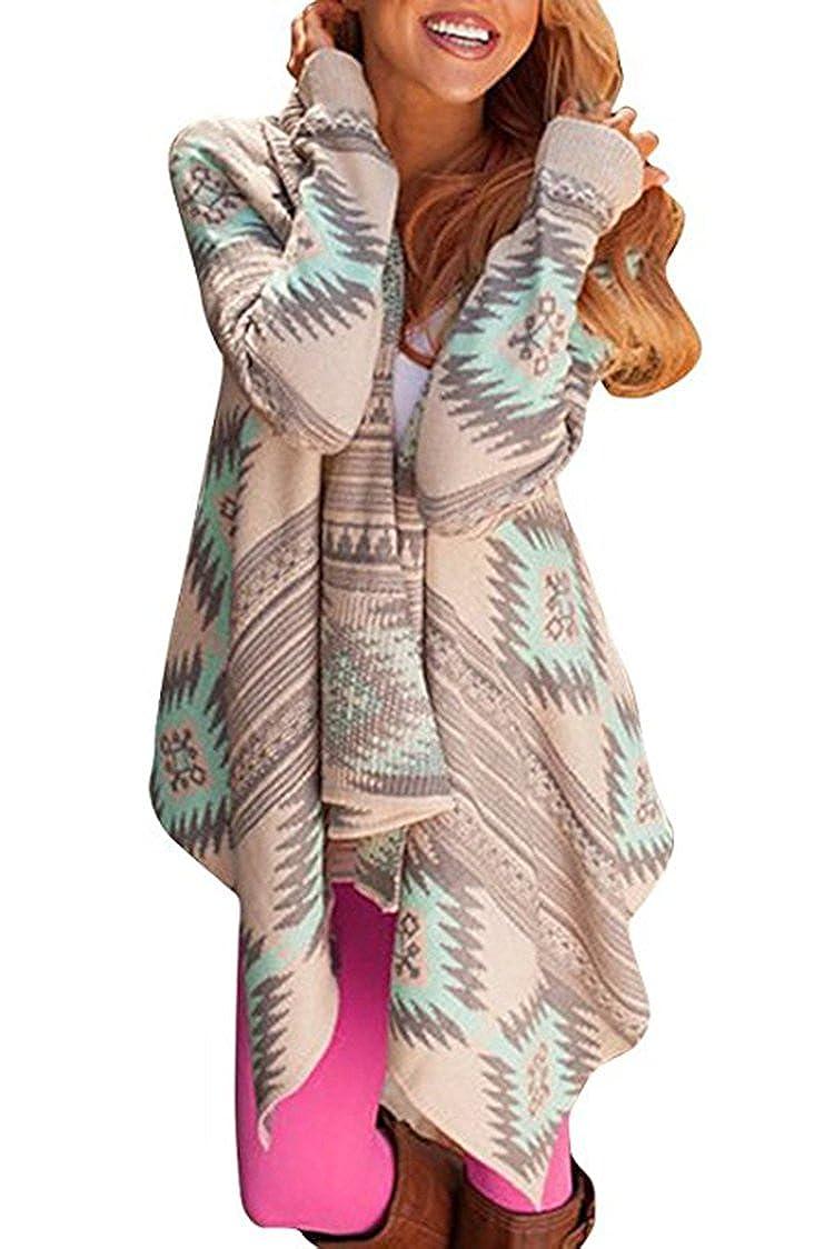 XITENG Women's Aztec Print Drape Open Front Drape Boyfriend Cardigan Sweaters