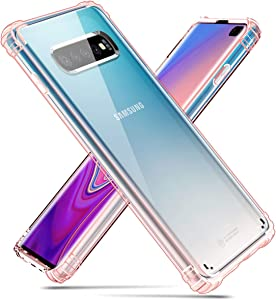 "Hocase Galaxy S10 Plus Case, Clear Hard Plastic Back Cover+Shockproof TPU Rubber Bumper Corners Hybrid Slim Protective Case for Samsung Galaxy S10 Plus (SM-G975U) 6.4"" Display 2019 - Rose Gold"