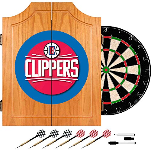 NBA Los Angeles Clippers Wood Dart Cabinet Set by Trademark Gameroom