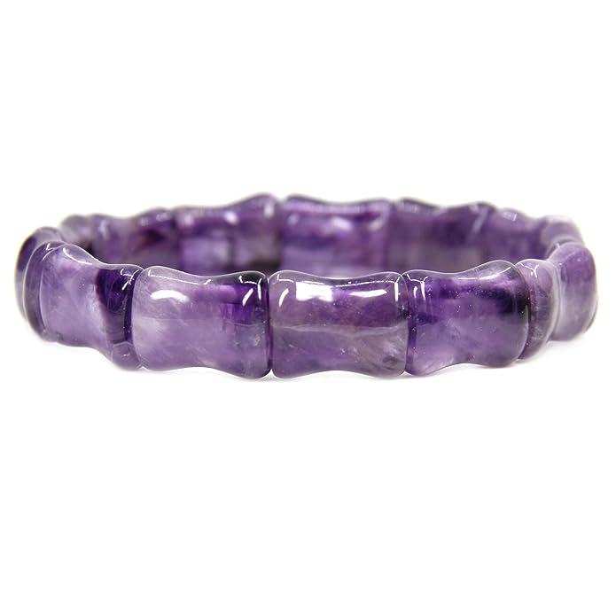 Amandastone Genuine Semi Precious Gemstone Bamboo Festival Beaded Stretchable Charm Bracelet 7