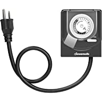 DEWENWILS Outdoor Outlet Timer with 2 ft Long Cord, Waterproof Light Timer with Grounded Electric Outlet, Heavy Duty Plug in Timer Switch for Pool Pump Fountain 15A, 1/2HP UL Listed