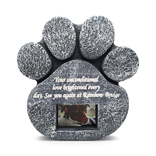 Two Jacks Paw Print Memorial Stone Pet Headstone Memorial Garden Dog Cat Customize with Photo Healing Pet Stone