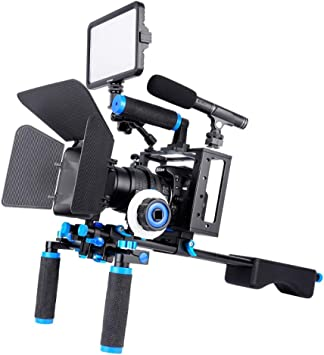 HAJZF Dual Handles Camera Shoulder Mount + Camera Cage ...