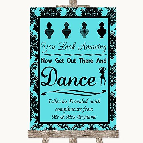 Tiffany Blue Damask Toiletries Comfort Basket Personalized Wedding Sign