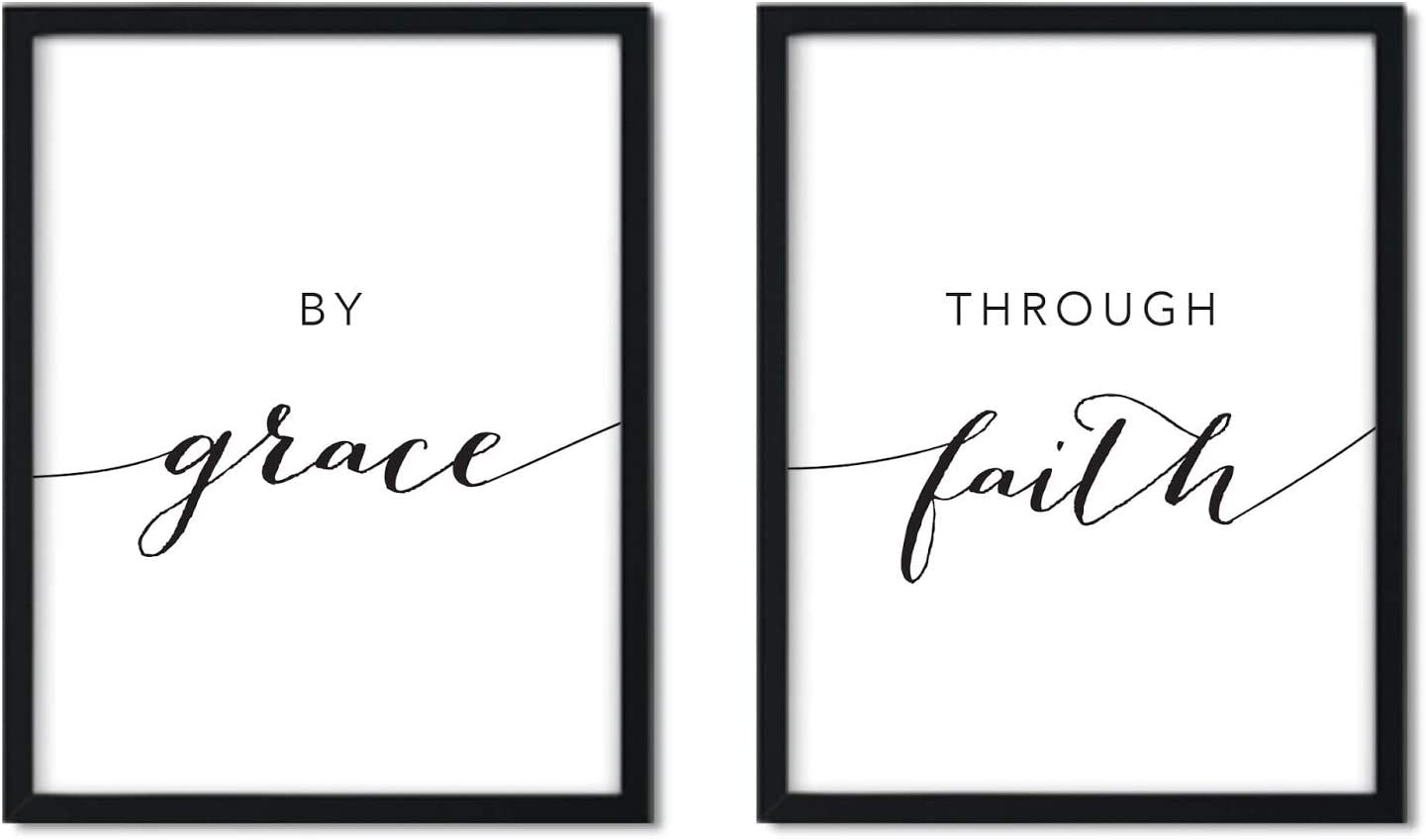 Andaz Press Unframed Black White Wall Art Decor Poster Print, Bible Verses, by Grace, Through Faith, 2-Pack, Unique Christian Christmas Birthday Gift for Him Her New Home
